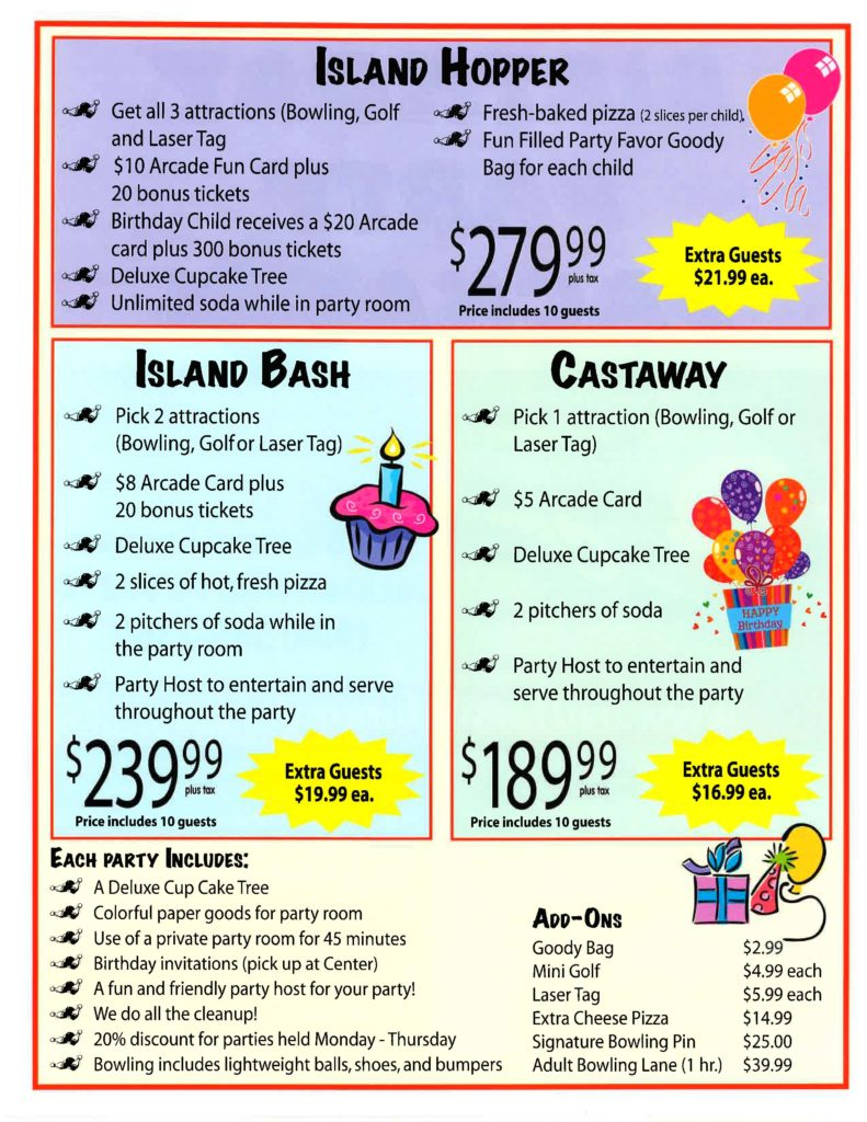 Birthday party package flyer page 2
