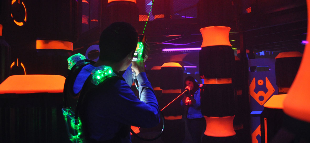 guy playing laser tag