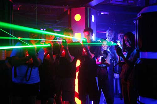 laser beams from people's laser tag guns
